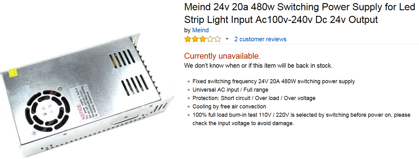 Amazon no longer carrying power supply