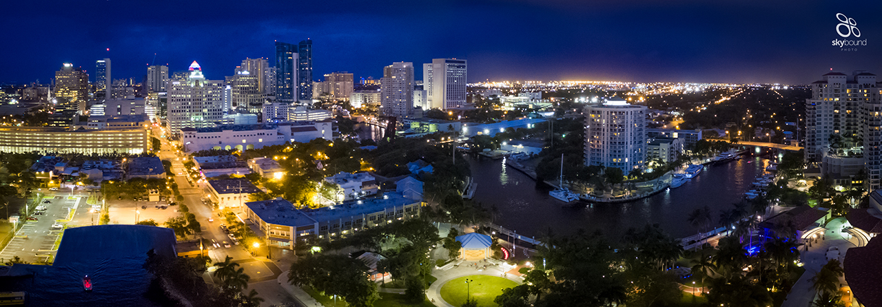 Night skyline Downtown Fort Lauderdale