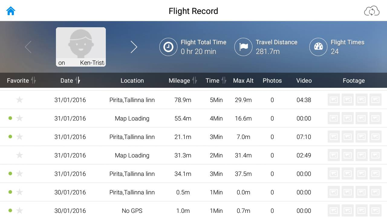 Screenshot of the DJI GO app flights