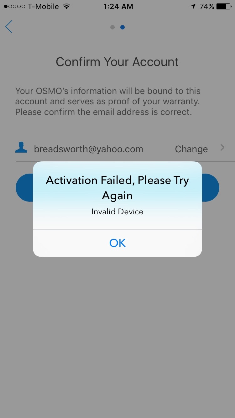 First time activation invalid device issue | DJI FORUM