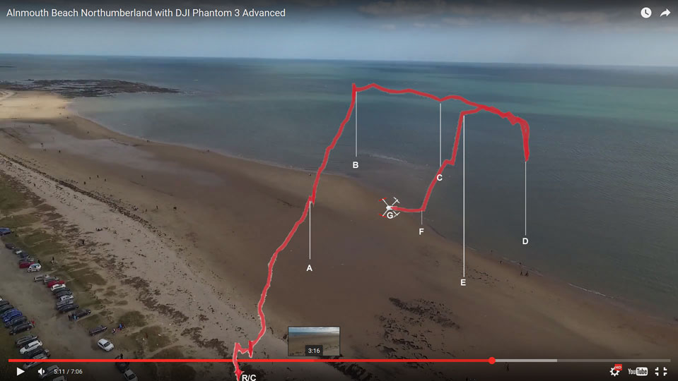 Flight path composite from exmaps.com and previous flight's video