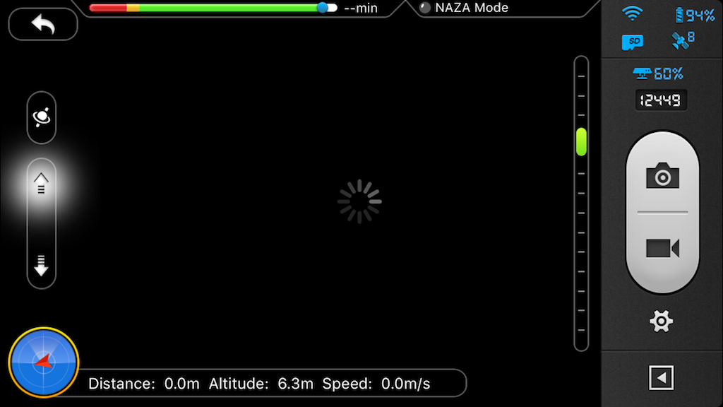 no video feed; vertical movement okay