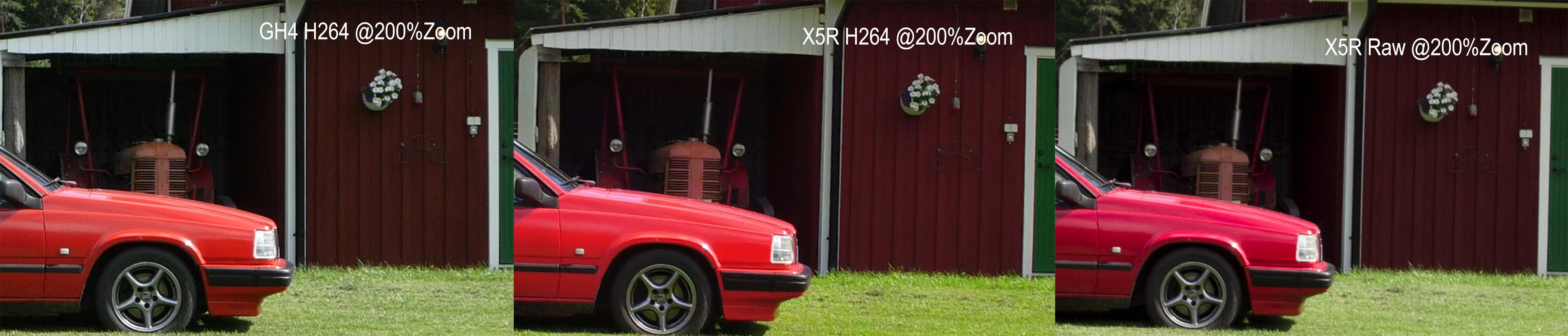 Comparison @200%Zoom GH4/ X5R H264/ X5R Raw