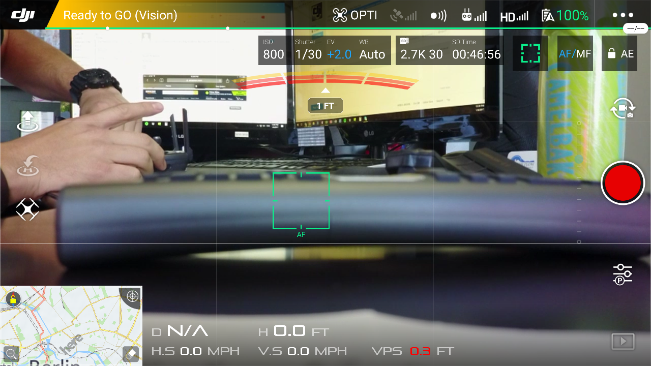Screen view when rec