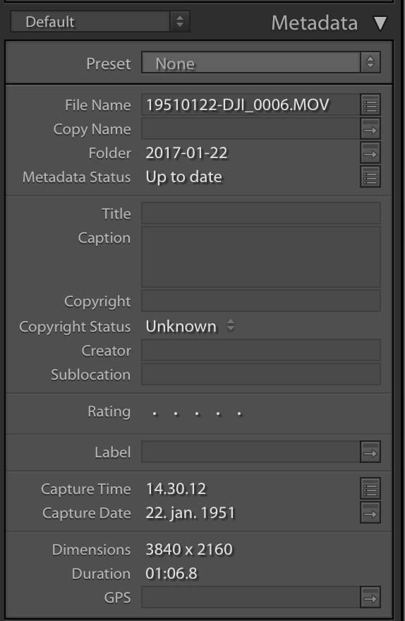 Meta data on video files