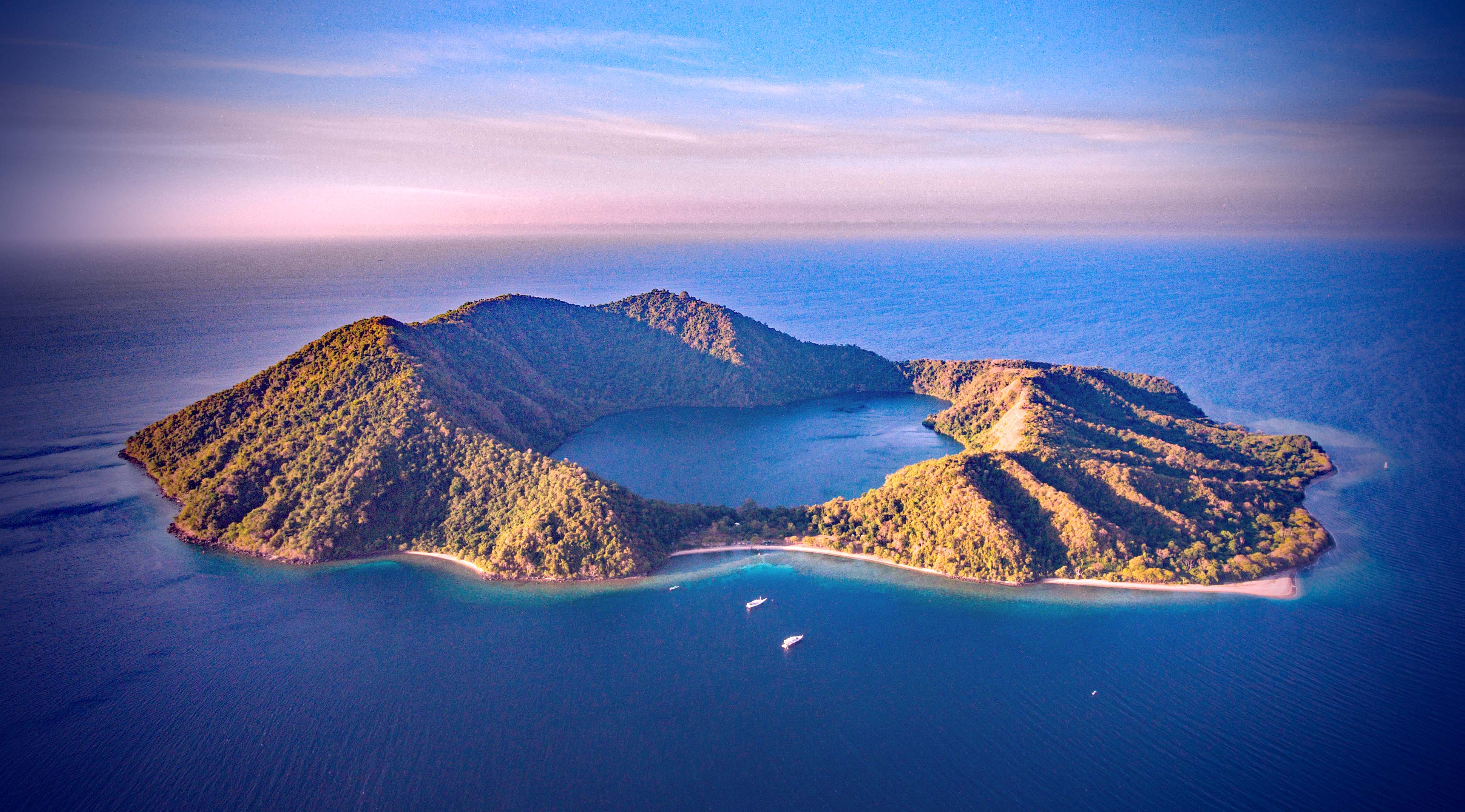 Satonda Island, a extinct volcano that collapsed into the Flores Sea.