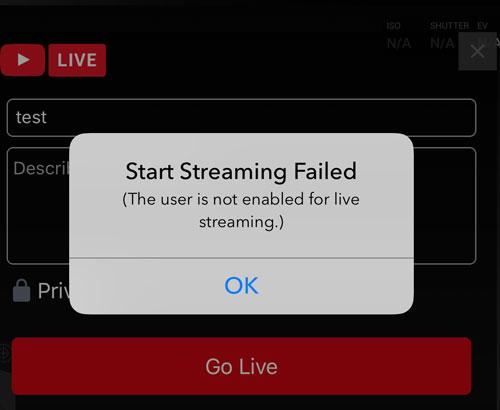 Error YouTube Stream