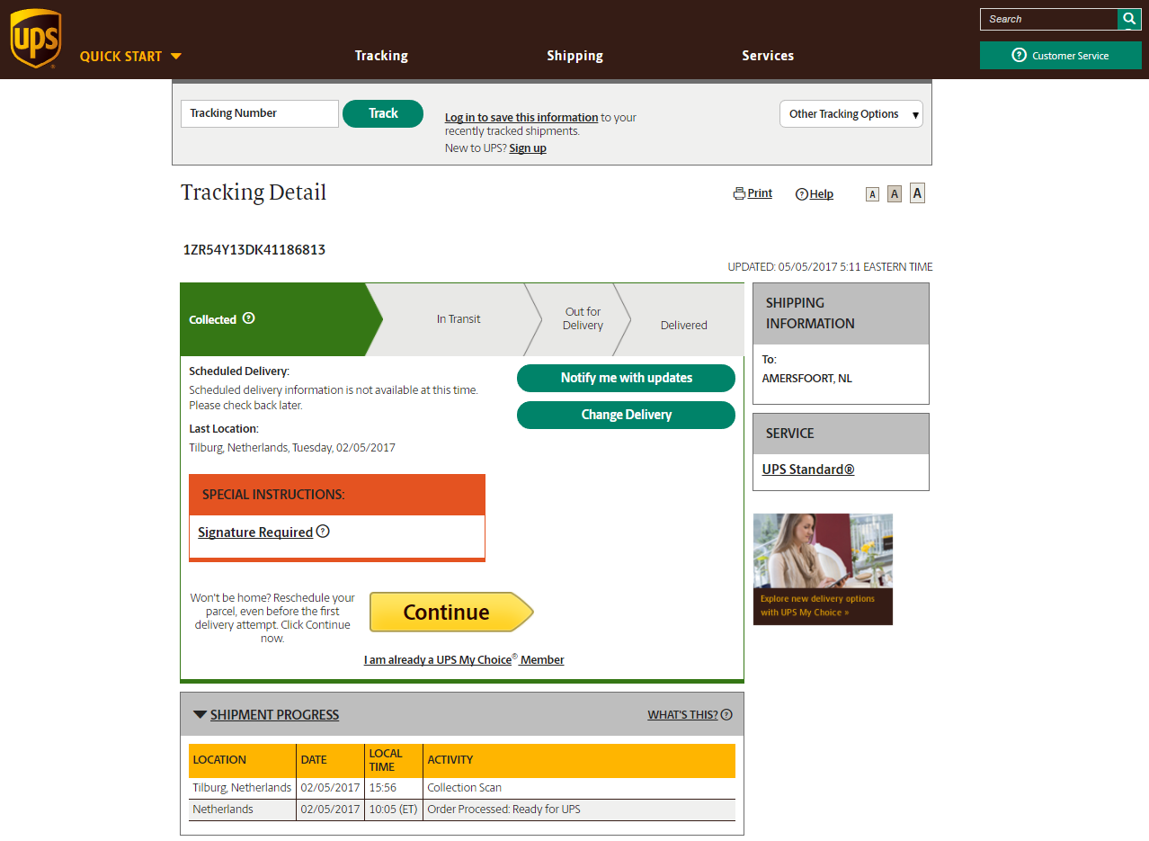 Tracking number ups