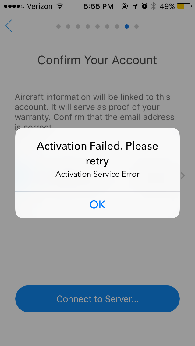 Unable to confirm email when activating mavic pro | DJI FORUM