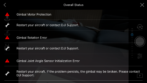 Dji spark multiple gimbal errors | DJI FORUM