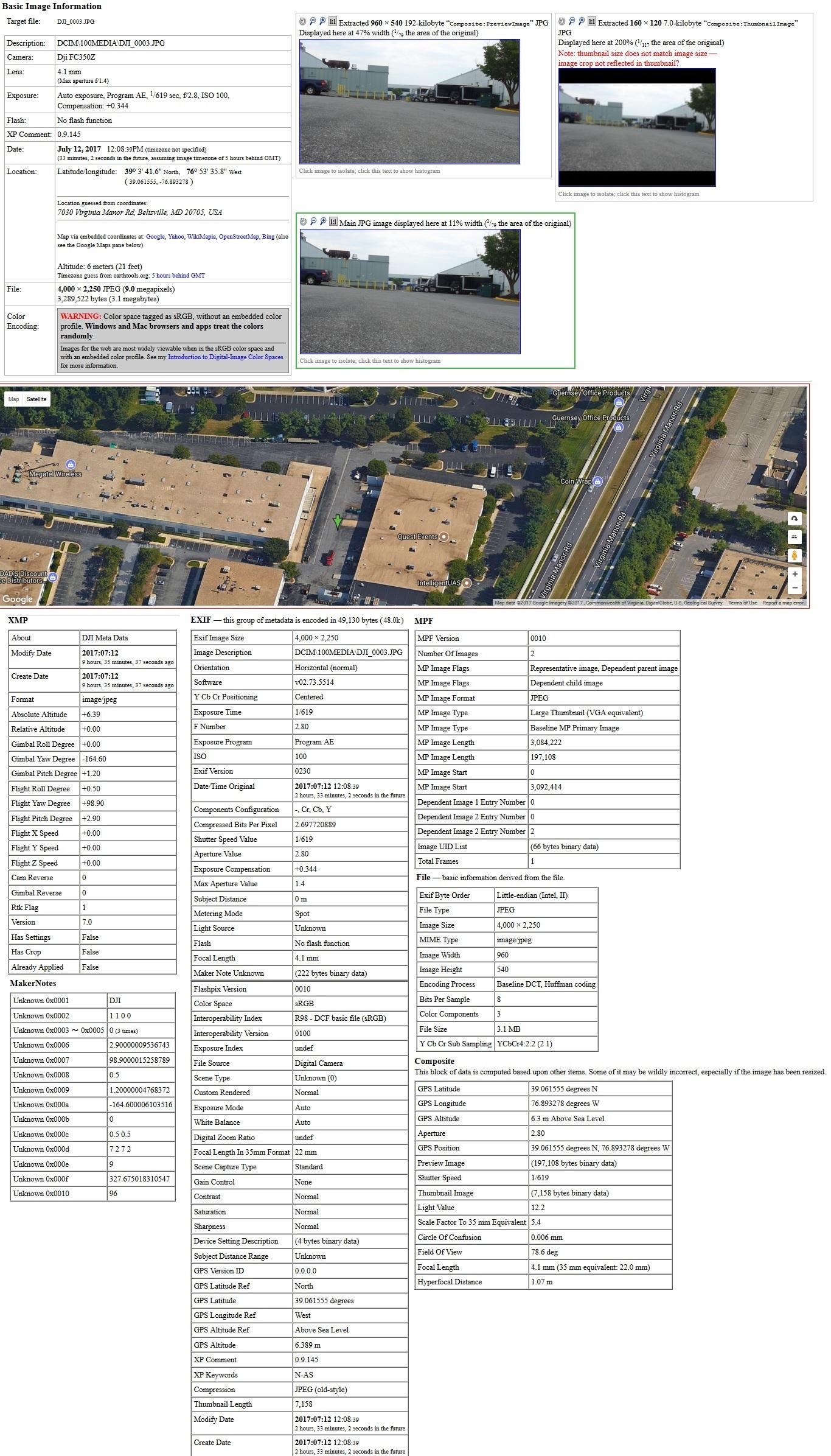 DJI RTK IMAGE Metadata Report