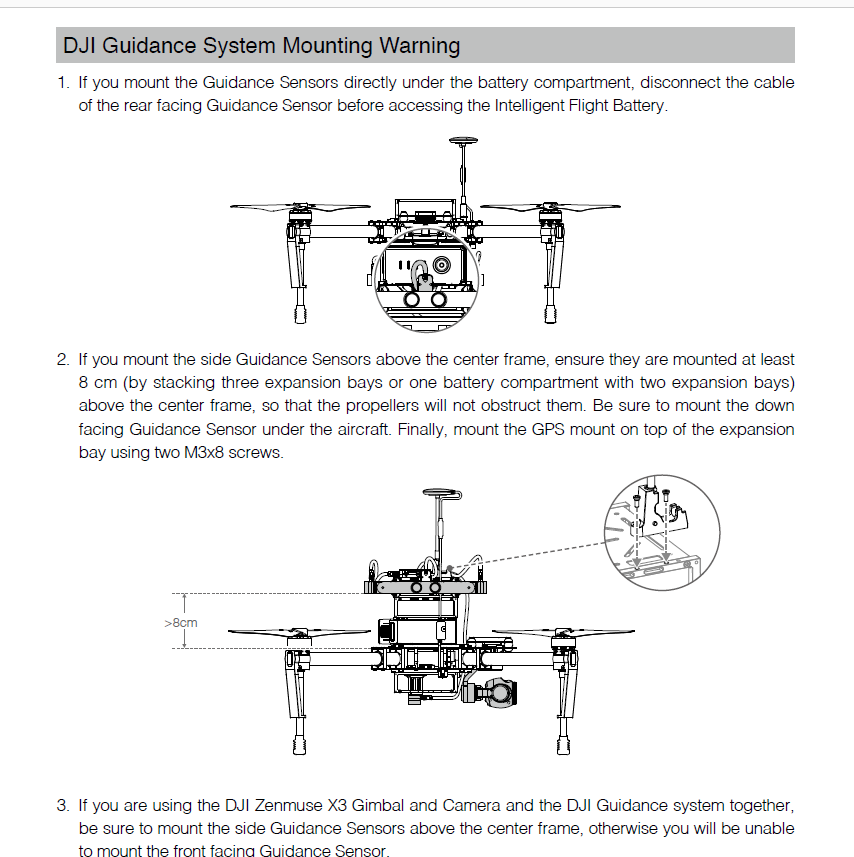 DJI Guidance System Mouting Warning