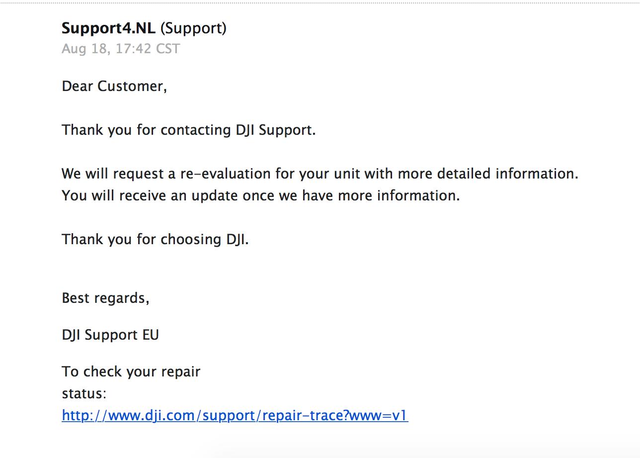 DJI automated reply