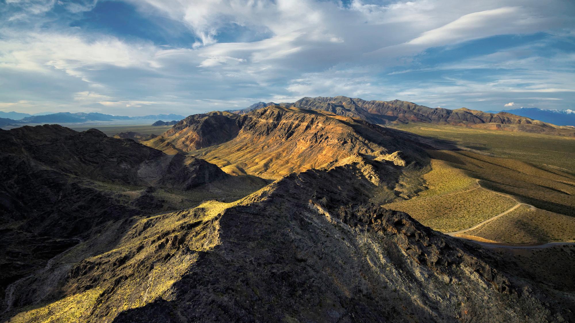 Shoshone Mountain Range at Sunset