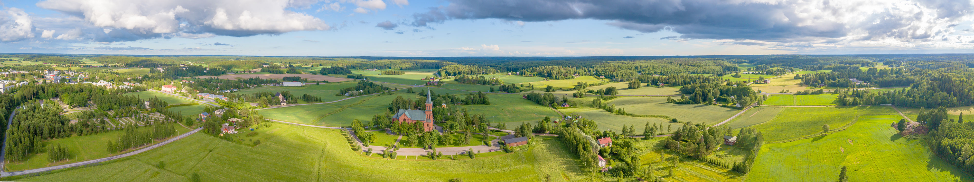 And in the middle there is a church. Landscape from Sipoo Finland