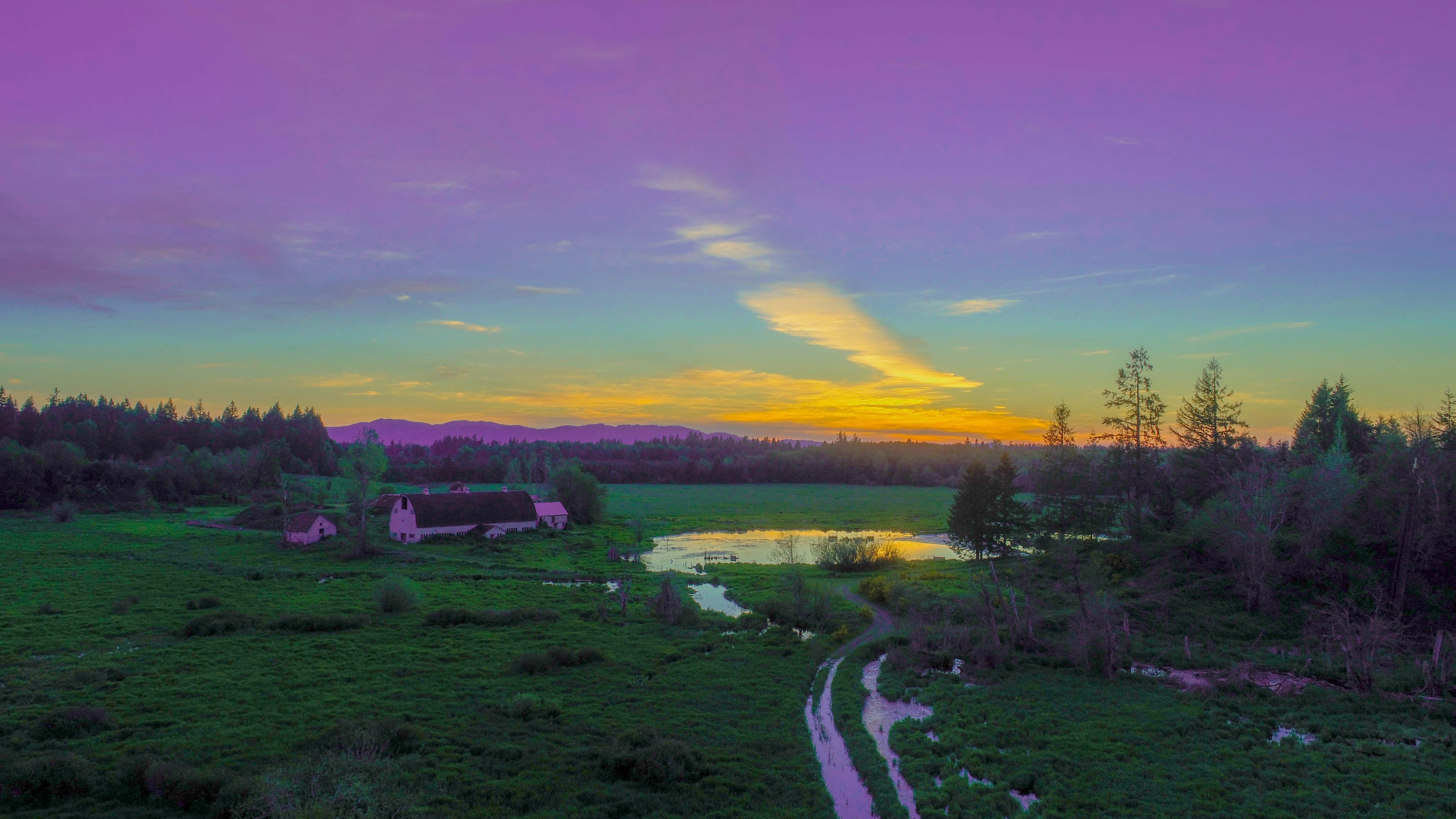 Sunset over East Oly farm