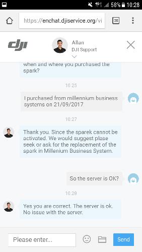 Spark activation failed server error | DJI FORUM