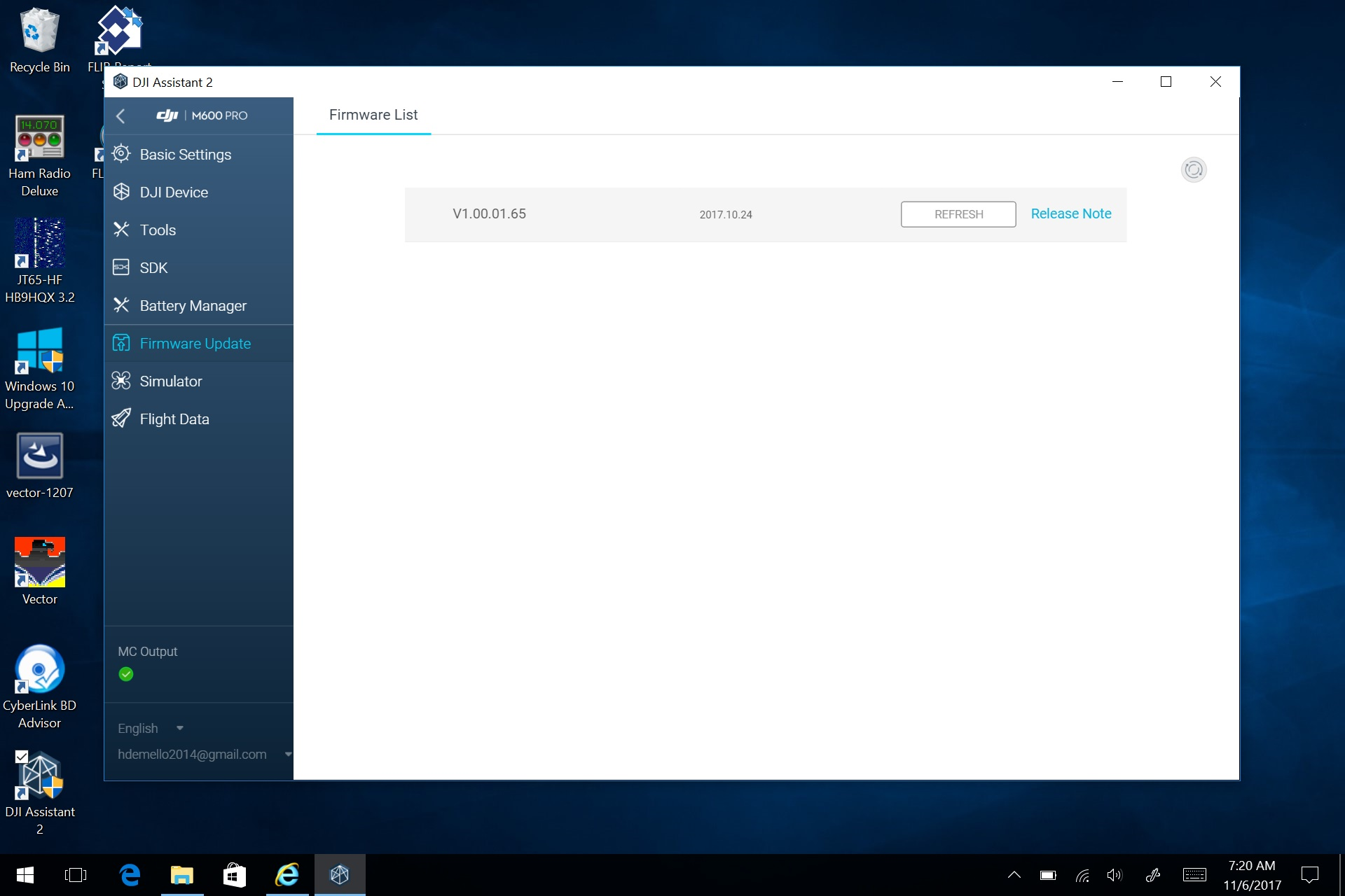 M600Pro Firmware Screen