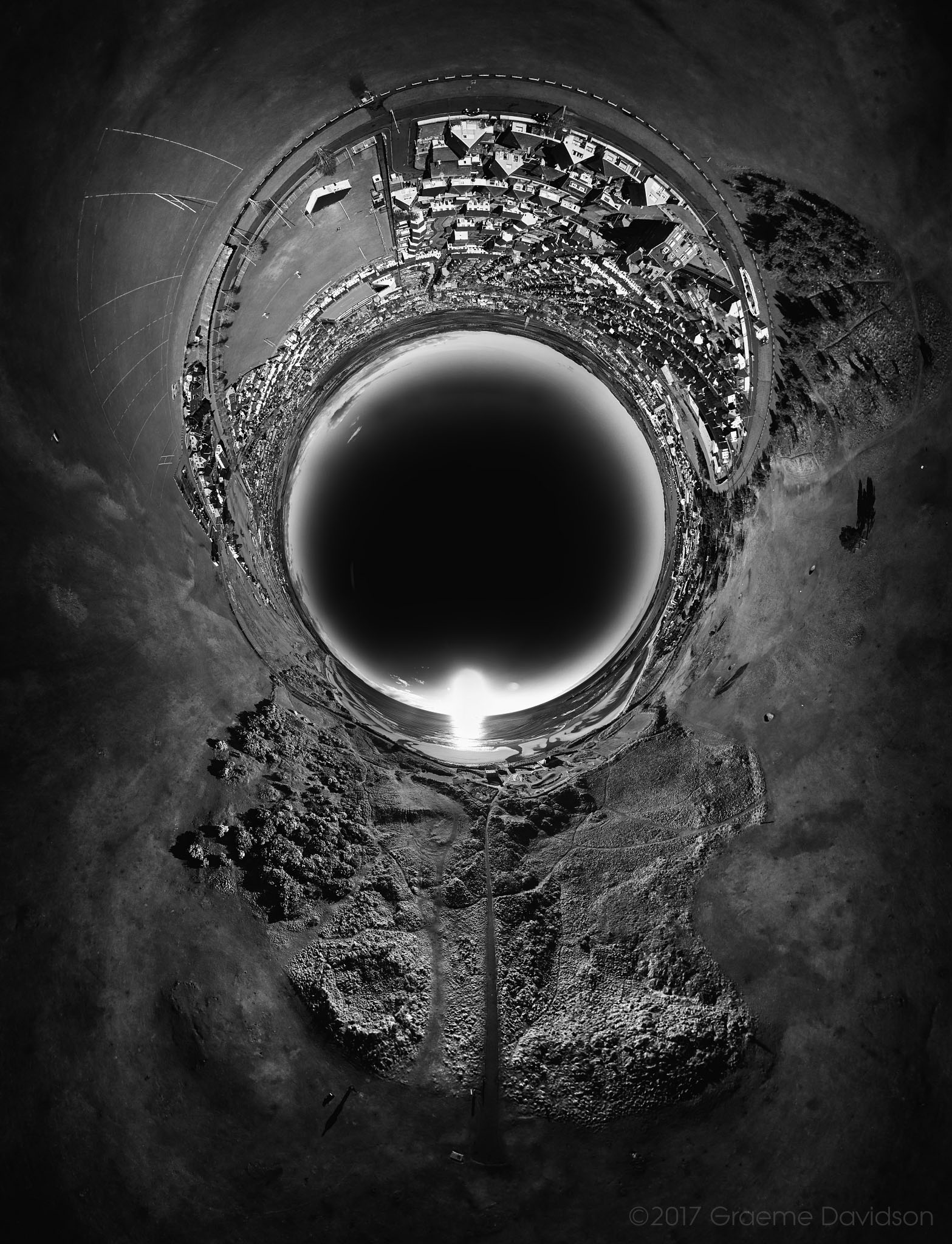Inverted stereographic BW view