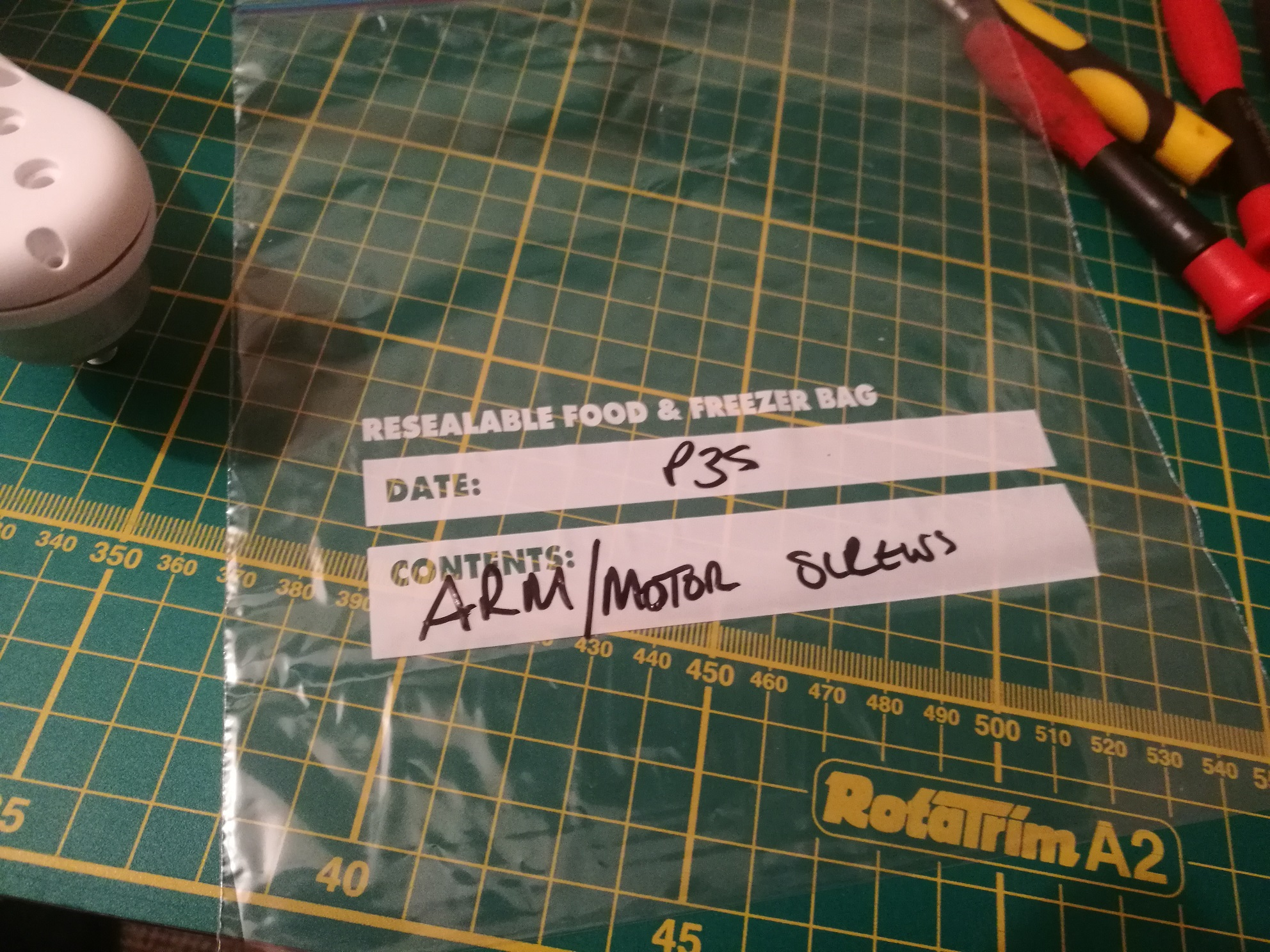 Freezer bags allow labeling of removed parts