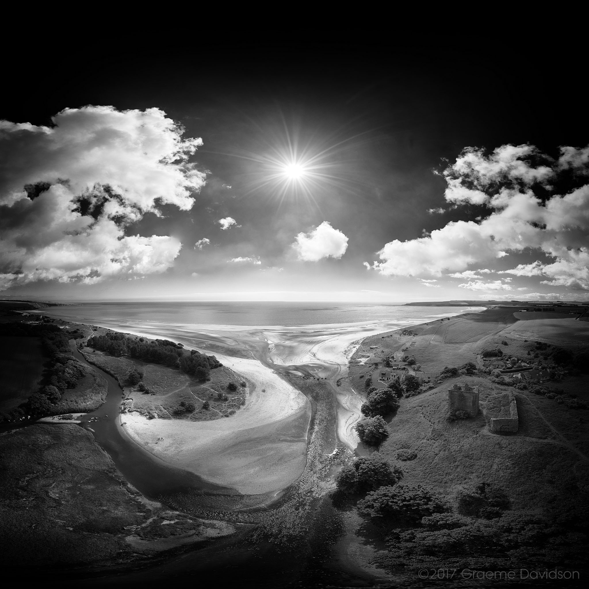 Lunan Bay and Redcastle - BW
