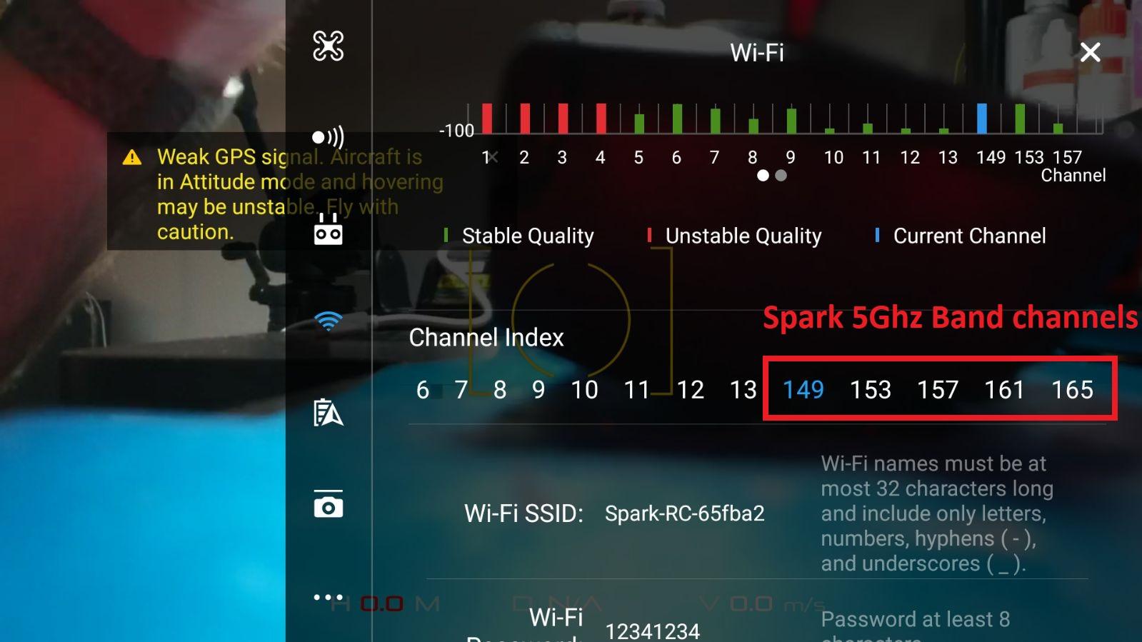 Dji Spark WiFi channel table