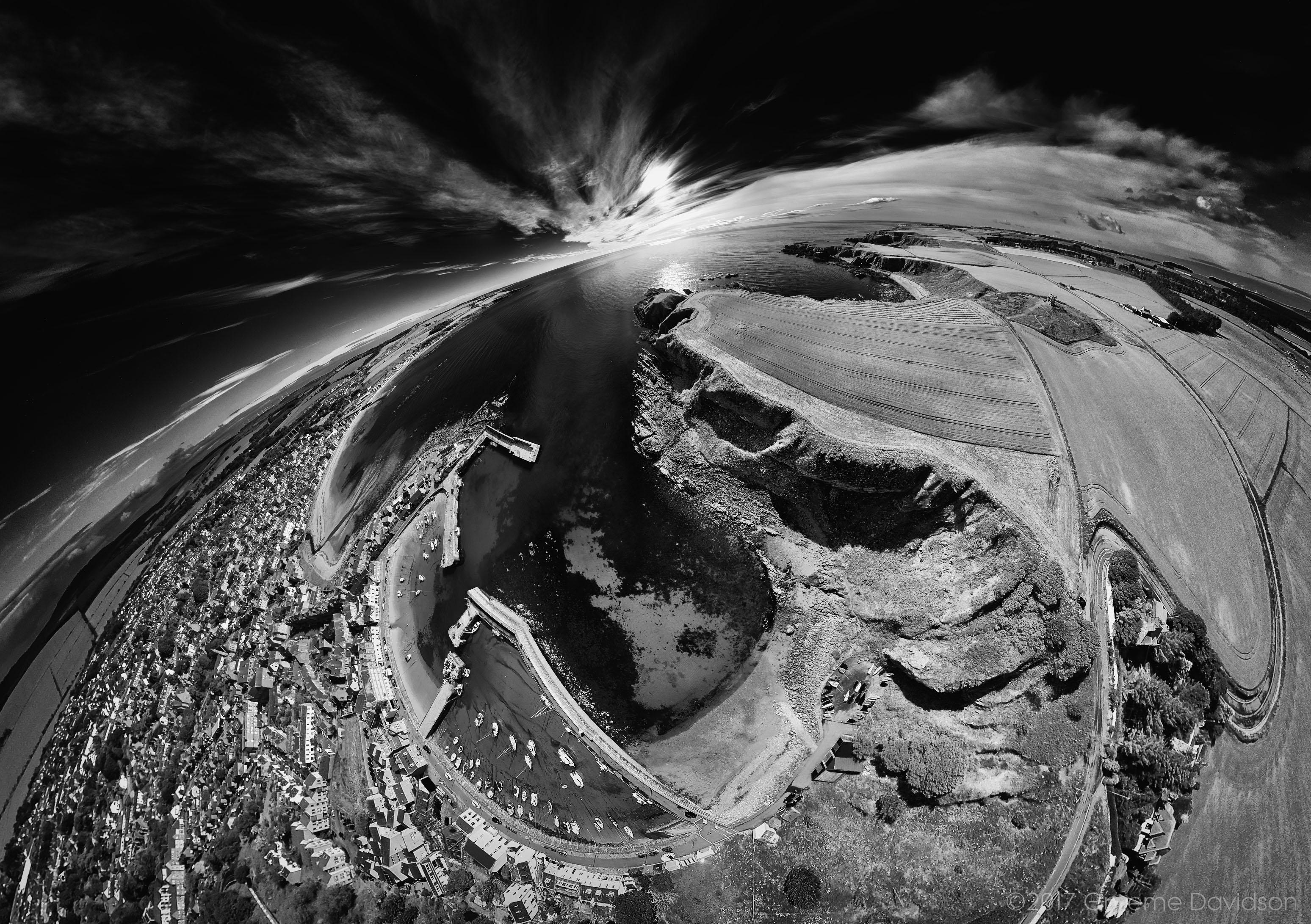 Stonehaven - partial little planet BW