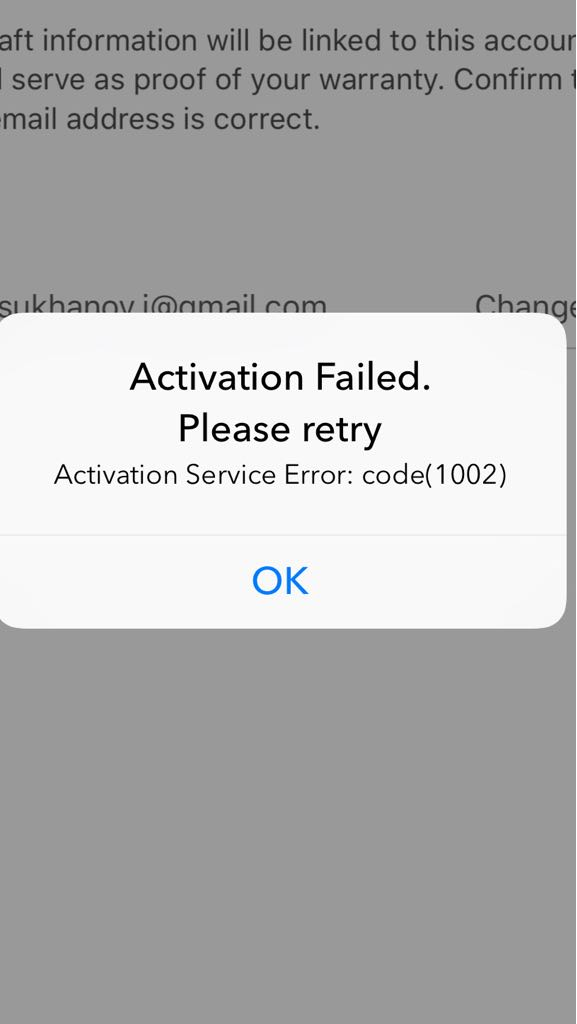 Activation Failed  Please Retry  Code 1002 | DJI FORUM