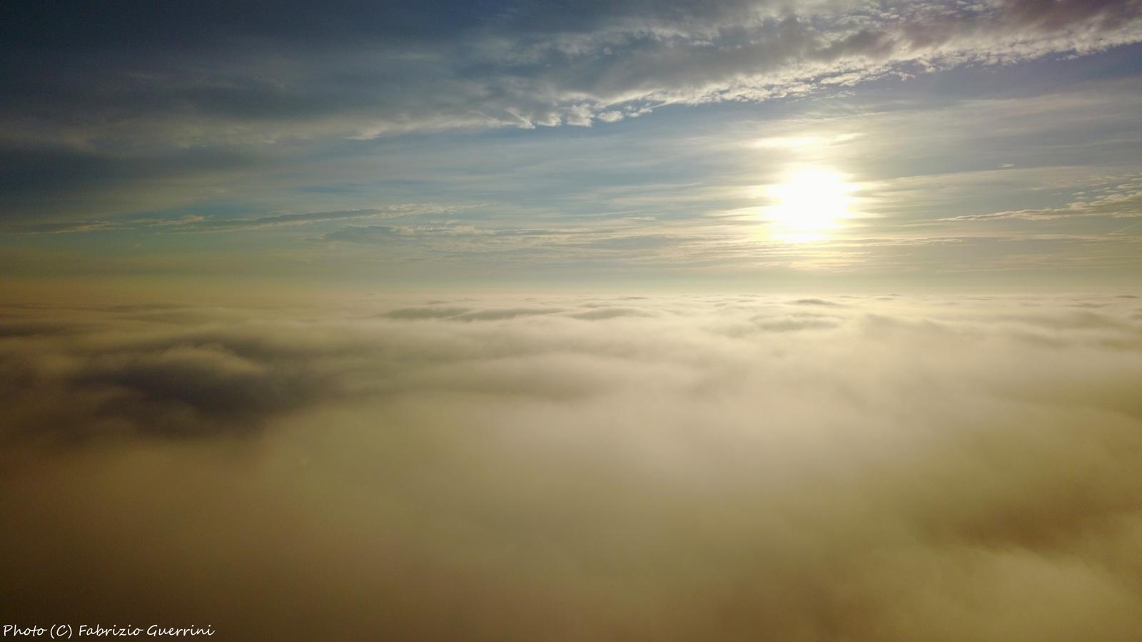 Sunrise above the fog..
