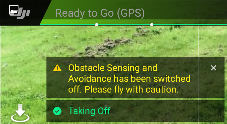 Message obtained when taking off automatic
