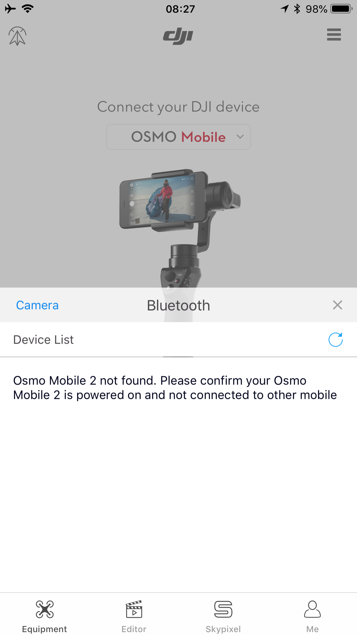 DJI Go trying to connect OSMO Mobile 2 when selecting OSMO Mobile