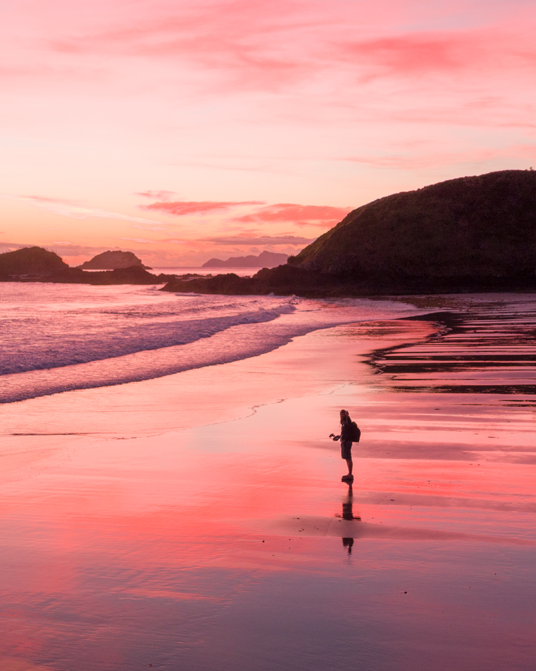 Pink Sunrise Ocean Beach New Zealand