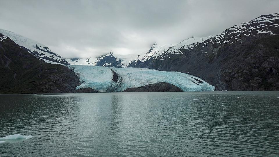 Ground view of Portage Glacier