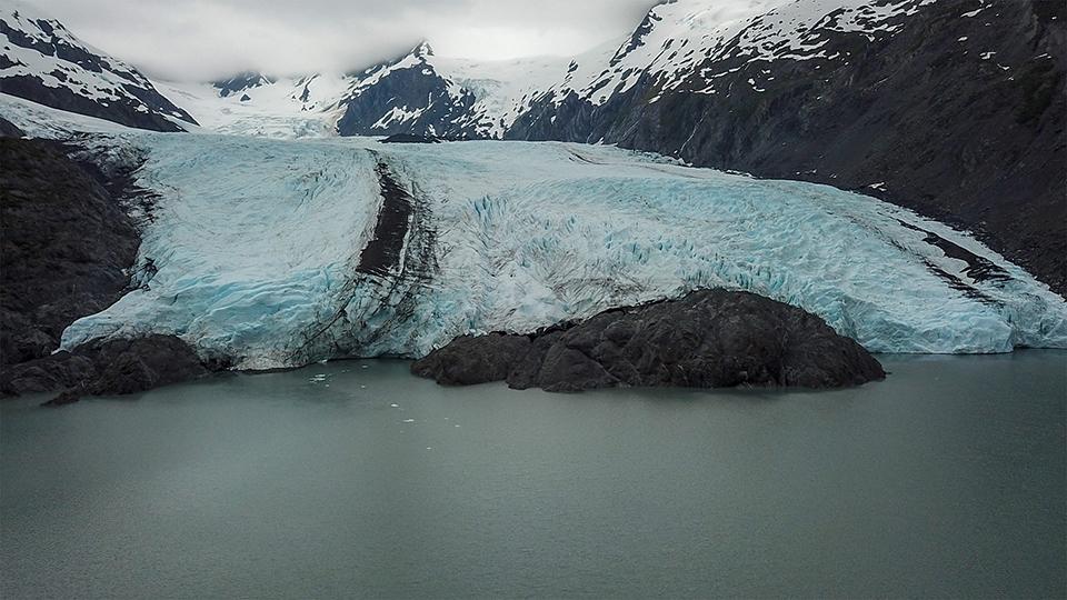 Air view of Portage Glacier