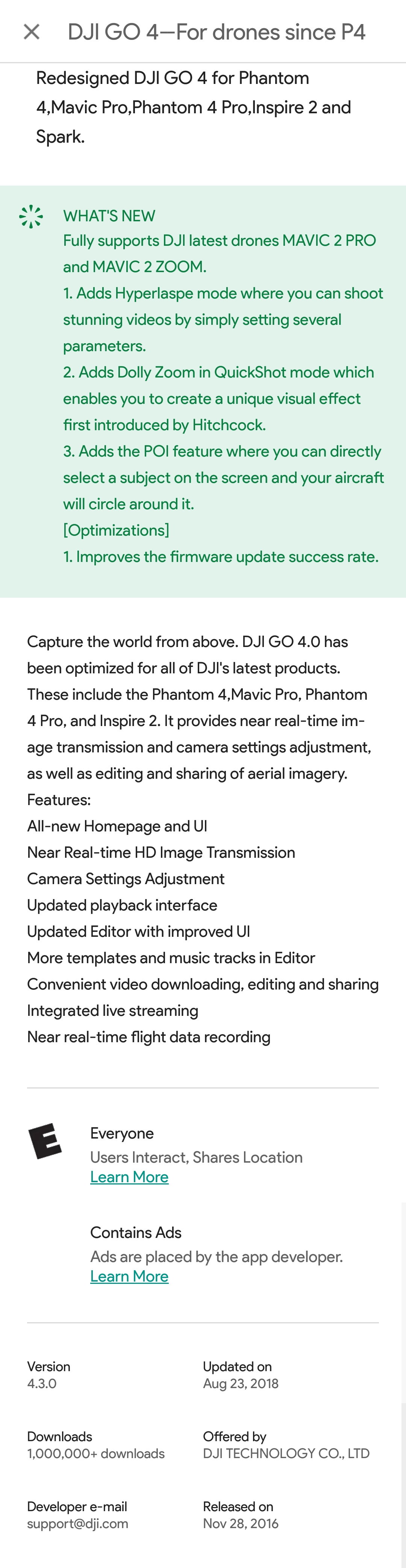 Play store just updated DJI GO 4 V  4 3 for Android | DJI FORUM