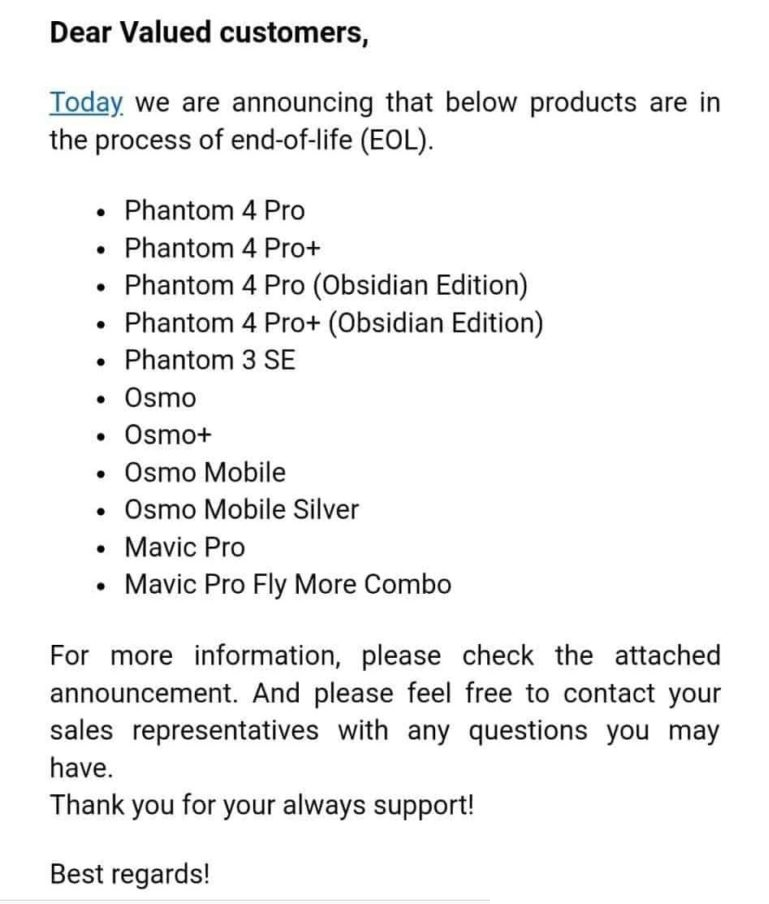 List of DJI Products Going EOL on 8-30-18
