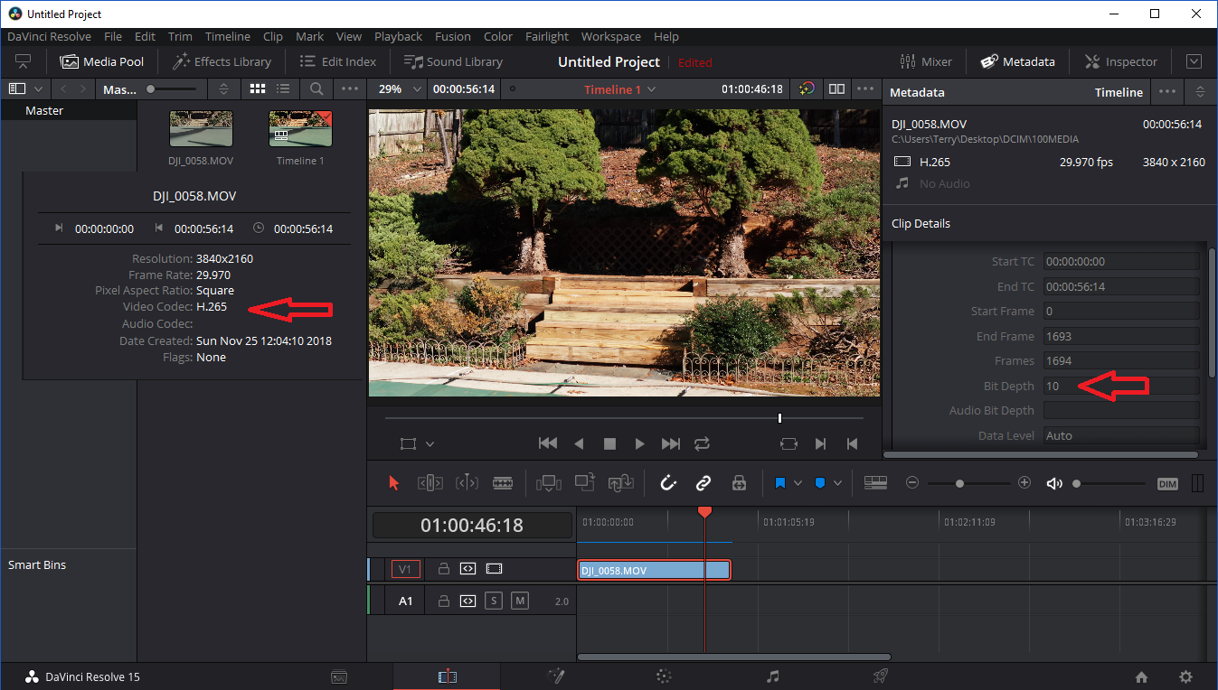 H 265 and DaVinci Resolve 15 | DJI FORUM