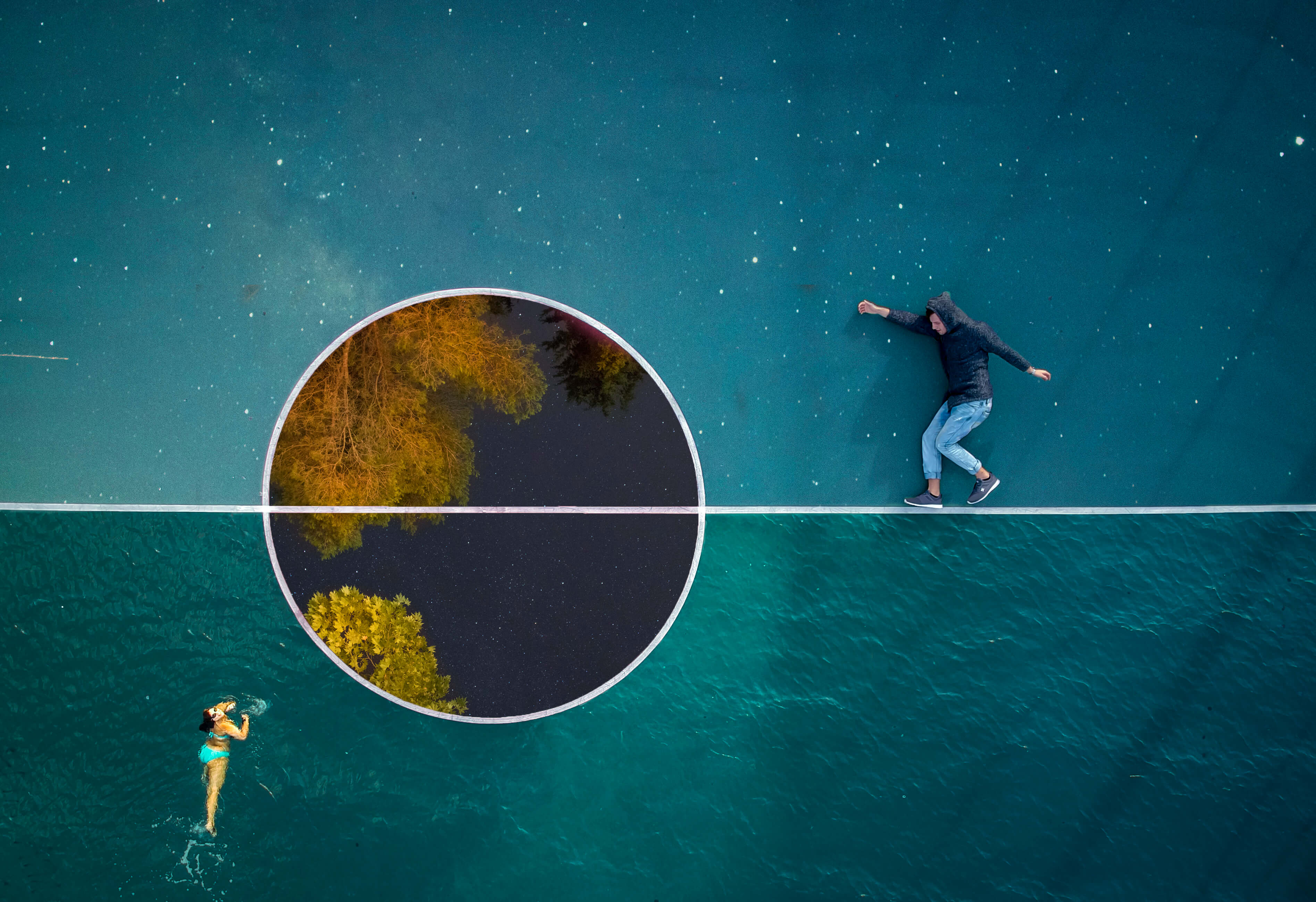 Balance is everything in a surreal world!  This is a composite image of 4 different photo! 2 shots t ...