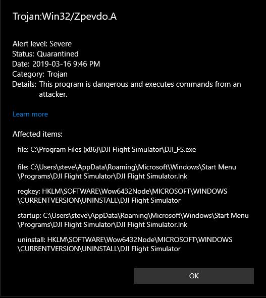 Trojan detected in DJI Flight Simulator   DJI FORUM