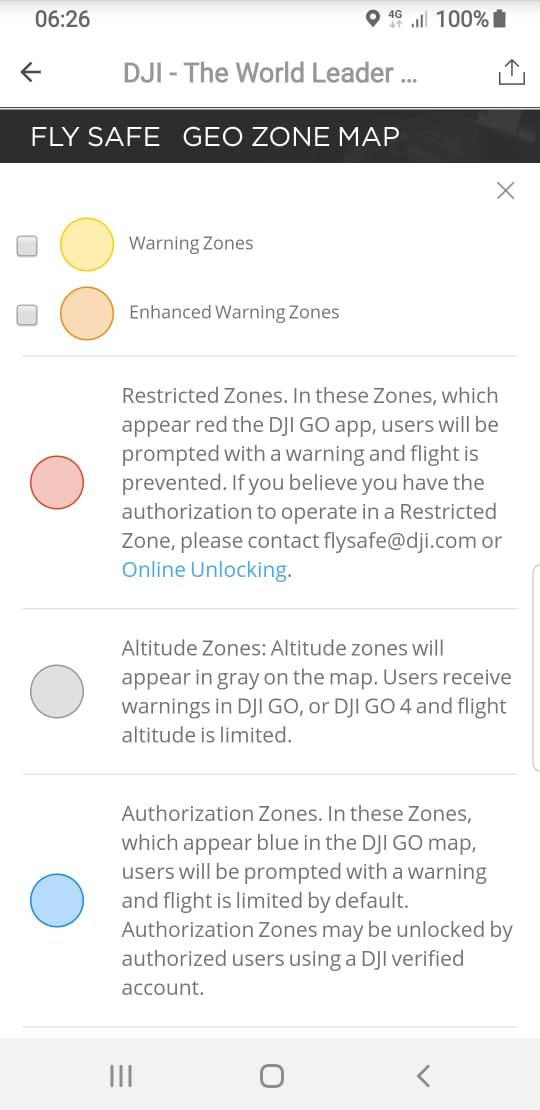 Fly safe geo zone map
