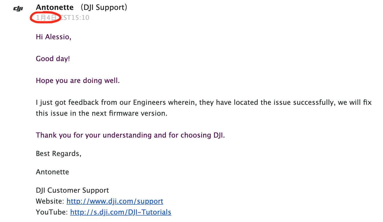 DJI engineers'response