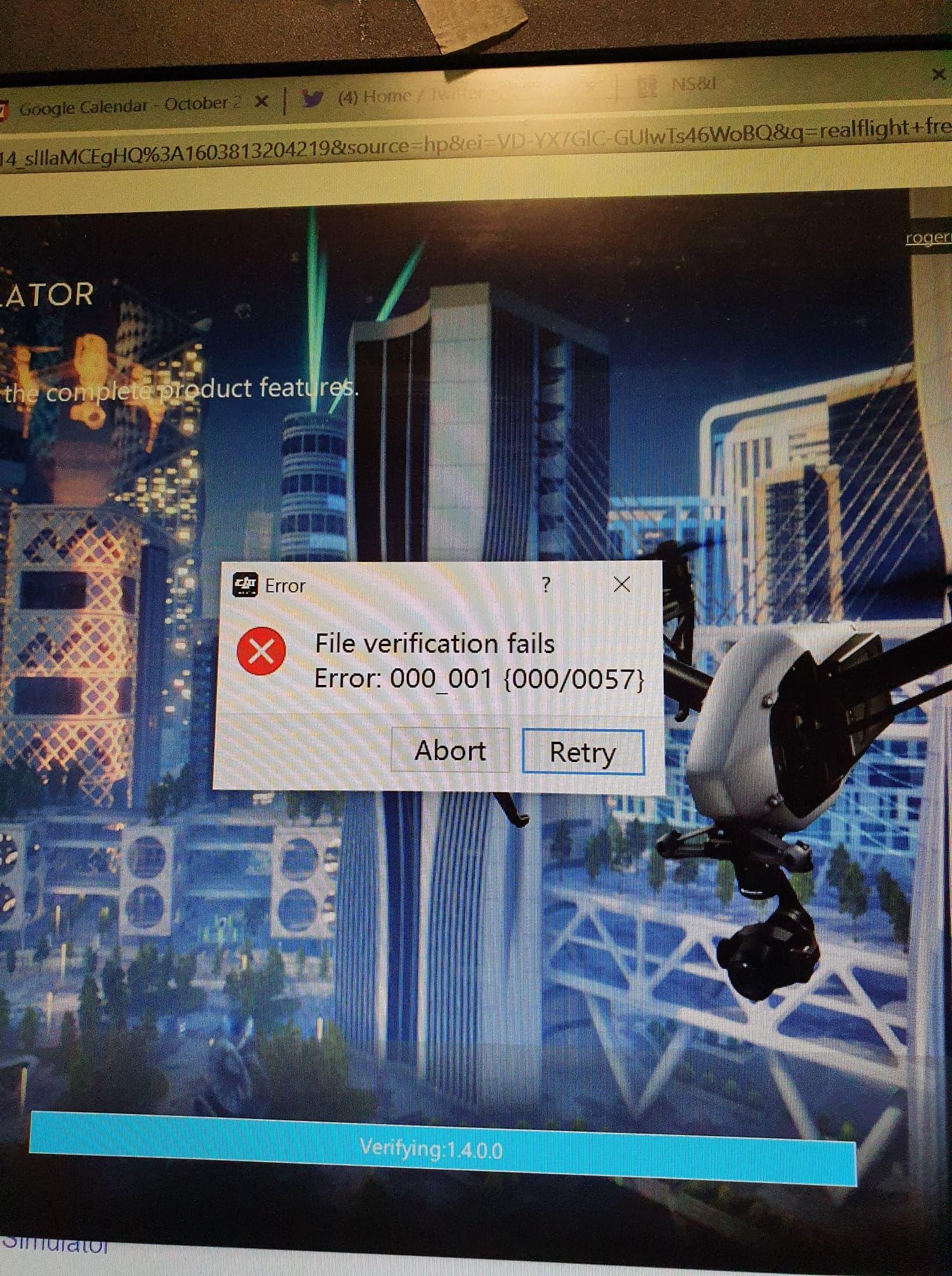 Screenshot of error code
