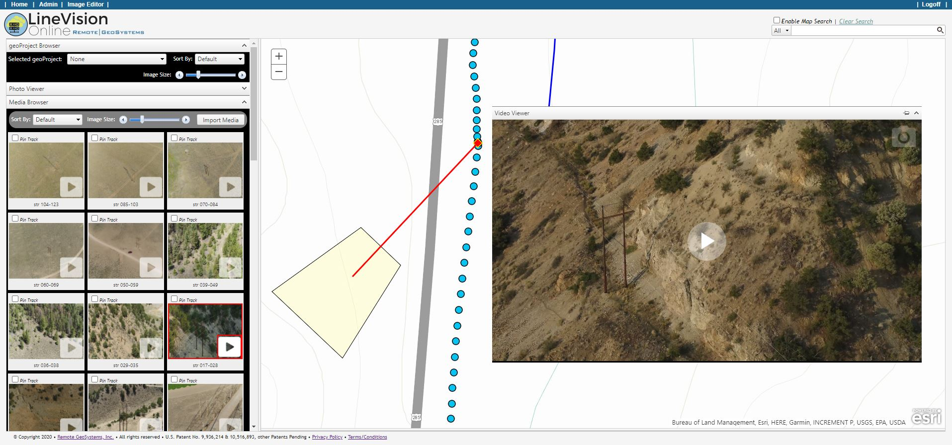 """DJI Videos with Remote Geo's """"Camera-Target Footprint"""" metadata showing where the camera is looking ..."""